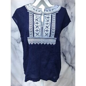 MADEWELL navy blue white embroidery vneck shirt